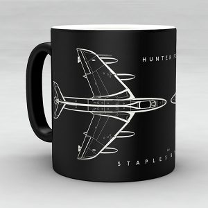 Hawker Hunter FGA9 aircraft aviation mug by Staples and Vine Ltd.