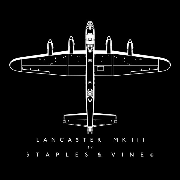 Avro Lancaster Mk III aircraft aviation T-shirt graphic by Staples and Vine Ltd.