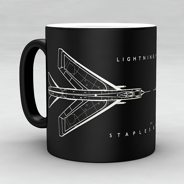 Lightning F1A aircraft aviation mug by Staples and Vine Ltd.
