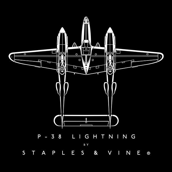 P-38 Lightning aircraft aviation T-shirt graphic by Staples and Vine Ltd.