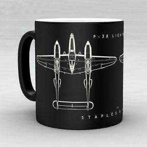 P-38 Lightning aircraft aviation mug by Staples and Vine Ltd.