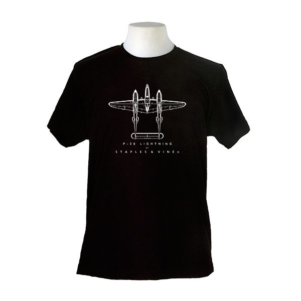 P-38 Lightning aircraft. Aviation T-shirt by Staples and Vine Ltd.