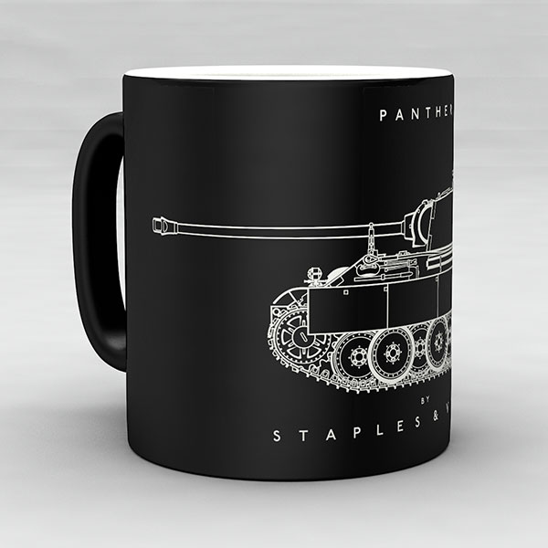 Panther tank mug by Staples and Vine Ltd.