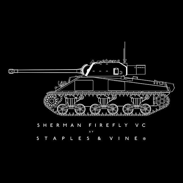 Sherman Firefly VC tank T-shirt graphic by Staples and Vine Ltd.