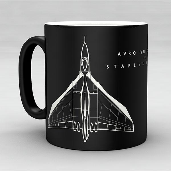 Avro Vulcan B2 aircraft aviation mug by Staples and Vine Ltd.