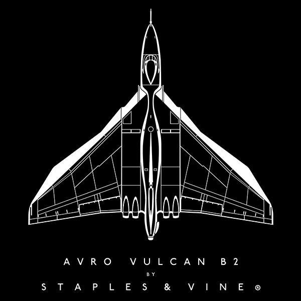 Avro Vulcan B2 aircraft aviation T-shirt graphic by Staples and Vine Ltd.