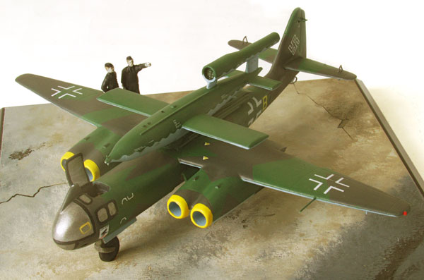 Arado Ar 234C-3 'Huckepack' 1/72 scale pewter limited edition aircraft model. Designed to air launch a V1 flying bomb. Handmade by Staples and Vine Ltd.