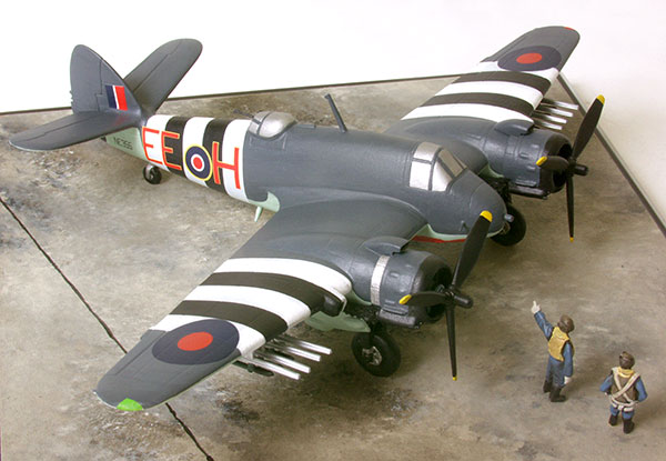 Bristol Beaufighter TF Mk X 1/72 scale limited edition pewter aircraft model from D-Day with invasion stripes and rockets handmade by Staples and Vine Ltd.