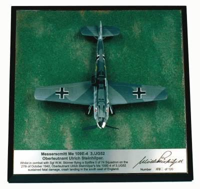 Messerschmitt Bf 109E-4 1/72 scale pewter signed limited edition aircraft model as flown in the Battle of Britain. Handmade by Staples and Vine Ltd.
