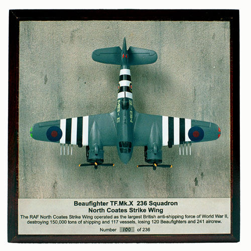 Bristol Beaufighter TF Mk X 1/144 scale pewter limited edition aircraft model. With full invasion stripes and rockets. Handmade by Staples and Vine Ltd.