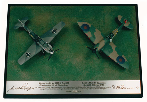 Messerschmitt Bf 109E-4 and Spitfire Mk II 1/72 scale pewter limited edition aircraft model. Handmade by Staples and Vine Ltd.