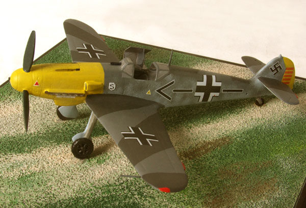 Messerschmitt Bf 109F-2 1/72 scale pewter limited edition aircraft model as flown by Luftwaffe ace Adolf Galland. Handmade by Staples and Vine Ltd.