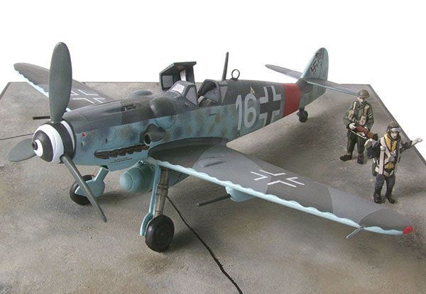 Messerschmitt Bf 109G-6/U2 1/48 scale pewter limited edition aircraft model. As captured after D-Day. Handmade by Staples and Vine Ltd.