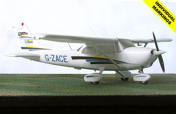 Cessna 172 Skyhawk 1/48 scale pewter aircraft model available in your individual markings. Handmade by Staples and Vine Ltd.