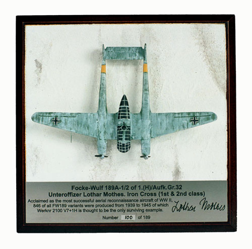 Focke Wulf Fw 189A-1 1/144 scale pewter limited edition aircraft model as flown by Lothar Mothes. Handmade by Staples and Vine Ltd.