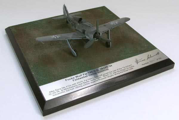 Focke Wulf Fw 190A-8 Heinz Schmidt 1/72 scale signed limited edition pewter aircraft model. Handmade by Staples and Vine Ltd.