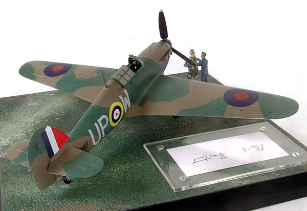 Hawker Hurricane Mk I in 1/48 scale signed limited edition as flown in the Battle of Britain by Bob Foster. Handmade in pewter by Staples and Vine Ltd.