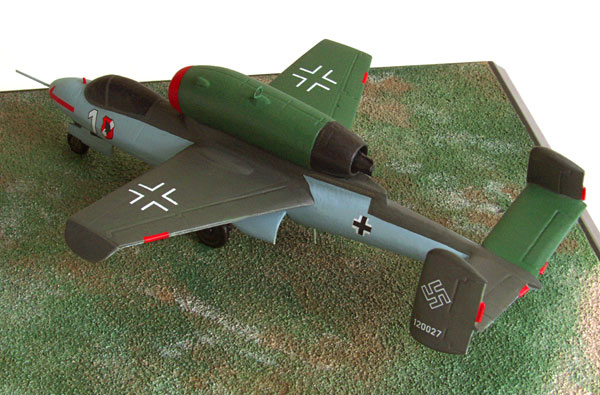 Heinkel He 162A-2 1/72 scale pewter limited edition aircraft model as flown in the final months of WW II. Handmade by Staples and Vine Ltd.