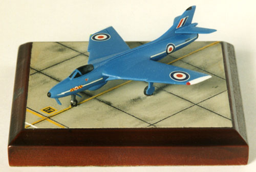 Hawker Hunter F6 1/144 scale pewter limited edition aircraft model in the striking Blue diamonds livery. Handmade by Staples and Vine Ltd.
