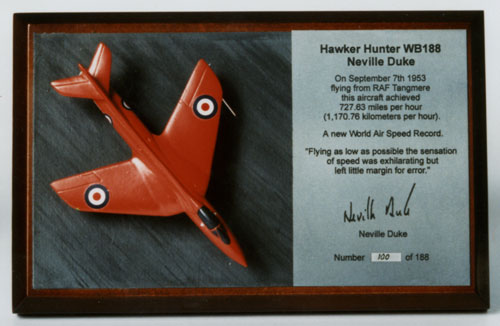 Hawker Hunter WB188 1/144 scale pewter limited edition aircraft model as flown by Neville Duke to break the air speed record. Handmade by Staples and Vine Ltd.