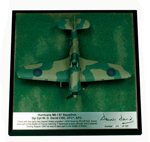 Hawker Hurricane Mk I Dennis David 1/72 scale pewter limited edition flown in the Battle of France. Handmade by Staples and Vine Ltd.