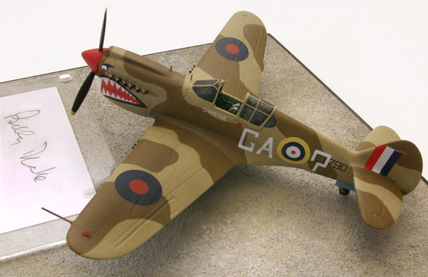 Curtiss Kittyhawk Mk IA 1/72 scale pewter limited edition aircraft model. Signed by the pilot Billy Drake. Handmade by Staples and Vine Ltd.