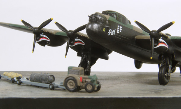 Avro Lancaster B MK X 'Ropey' 1/144 scale pewter limited edition aircraft model featuring sharks mouths on the nacelles. Handmade by Staples and Vine Ltd.