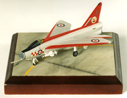 English Electric Lightning F1A 1/144 scale pewter limited edition aircraft model in the 'Firebirds' display scheme of 56 Squadron. Handmade by Staples and Vine Ltd.