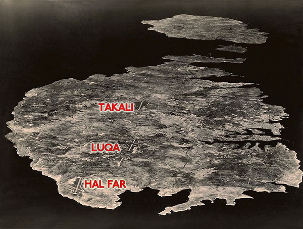 Aerial photograph of Malta from WW II