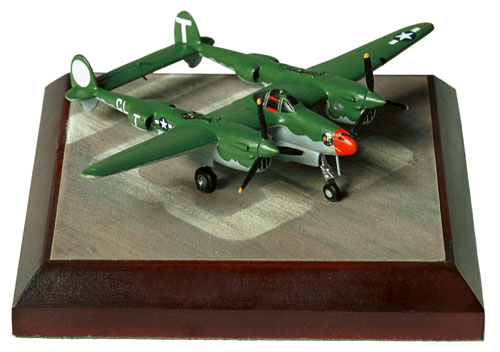 Lockheed P-38J Lightning 'Stinger' 1/144 scale pewter limited edition aircraft model in the early olive drab scheme. Handmade by Staples and Vine Ltd.