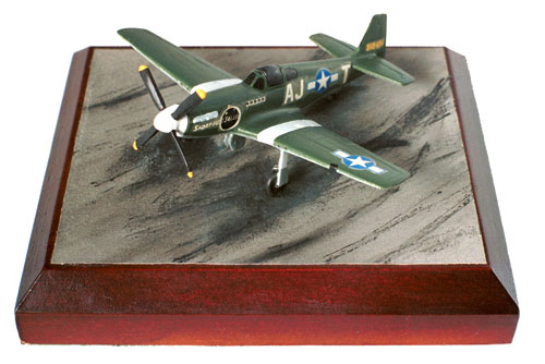 North American P-51B Mustang 1/144 scale pewter limited edition aircraft model. In the early olive drab scheme. Handmade by Staples and Vine Ltd.