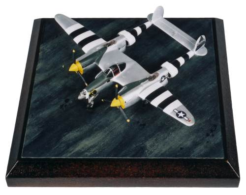 Lockheed P-38J Lightning Mamas Boy 1/144 scale pewter limited edition aircraft model featuring full D-Day stripes. Handmade by Staples and Vine Ltd.