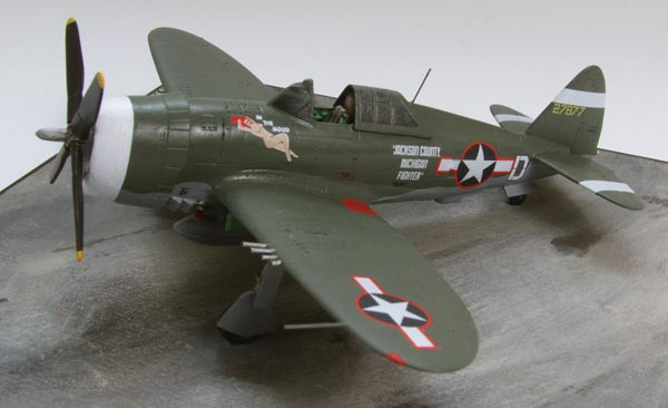Republic P-47D Thunderbolt of Gerry Johnson 1/72 scale pewter limited edition aircraft model. Handmade by Staples and Vine Ltd.