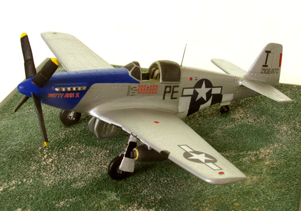 North American P-51B Mustang 1/72 scale pewter limited edition aircraft model and flown by John F Thornell. Handmade by Staples and Vine Ltd.