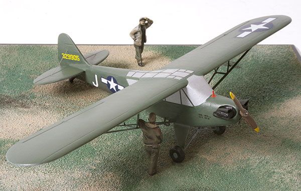 Piper L-4H Grasshopper 1/48 scale pewter limited edition aircraft model. The aircraft that shot down a Feiseler Storch at the end of WWII. Handmade by Staples and Vine Ltd.