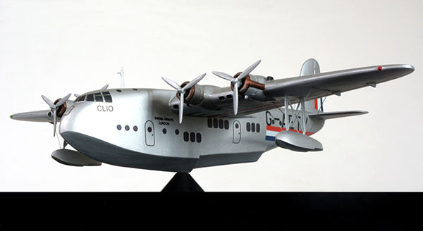 Short S.23 C-Class Empire flying boat G-AETY 'Clio' 1/144 scale pewter limited edition aircraft model. Handmade by Staples and Vine Ltd.