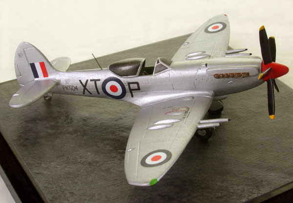 Supermarine Spitfire F Mk 22 1/72 scale pewter limited edition aircraft model. Featuring the high speed all silver scheme. Handmade by Staples and Vine Ltd.