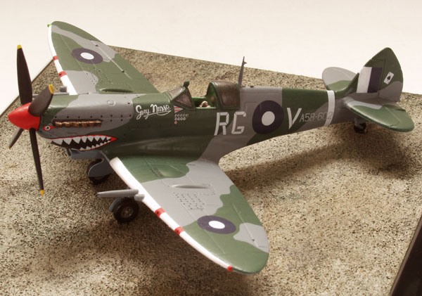 Supermarine Spitfire Mk VIII 1/72 scale pewter limited edition aircraft model. As flown by the RAAF with the distinctive sharkmouth. Handmade by Staples and Vine Ltd.