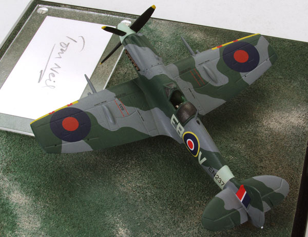 Supermarine Spitfire Mk XII 1/72 pewter limited edition aircraft model signed by the pilot Tom Neil. Handmade by Staples and Vine Ltd.