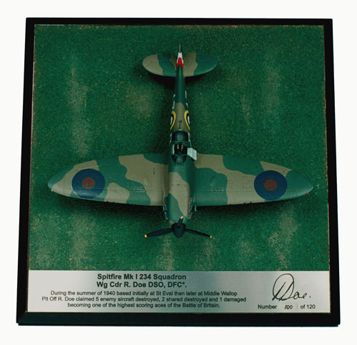 Supermarine Spitfire Mk I Bob Doe 1/72 pewter limited edition aircraft model as flown in the Battle of Britain. Handmade by Staples and Vine Ltd.