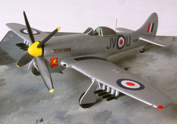 Hawker Tempest Mk VI 1/72 scale pewter limited edition aircraft model. In an all silver scheme as flown by the famous 6 sqn RAF. Handmade by Staples and Vine Ltd.