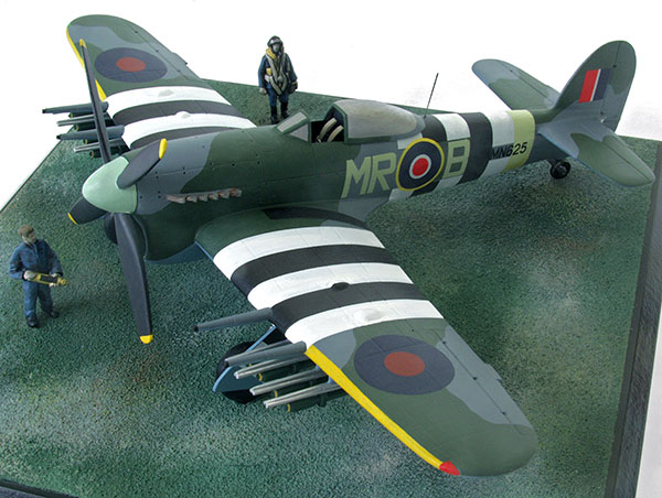 Hawker Typhoon Mk IB in 1/48 scale as flown on D-Day 6th June 1944. Handmade limited edition of 50 only in pewter by Staples and Vine Ltd.