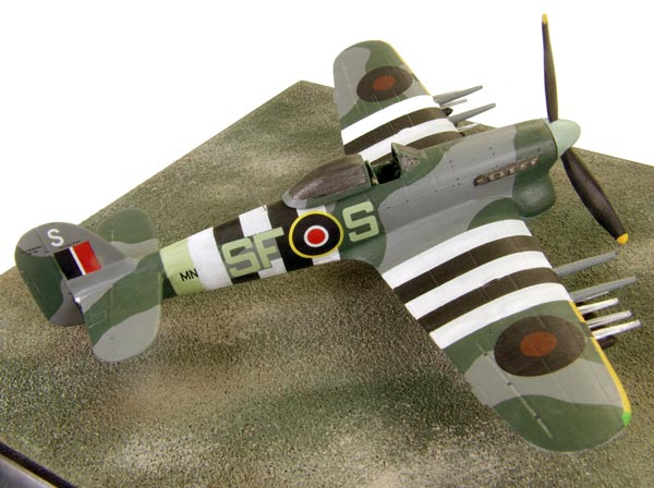 Hawker Typhoon Mk IB 1/72 scale pewter limited edition aircraft model. As flown on D-Day with full invasion stripes and rockets. Handmade by Staples and Vine Ltd.