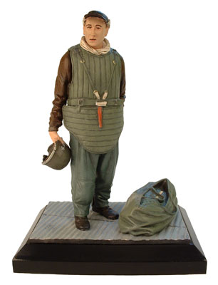 Ready for the Fight limited edition pewter 120mm figure of a Boeing B-17 waist gunner prepared for action. Handmade by Staples and Vine Ltd.