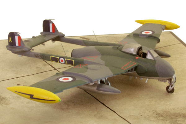 de Havilland Venom FB 4 1/72 pewter limited edition aircraft model. A colourful Venom from Kai Tak. Handmade by Staples and Vine Ltd.