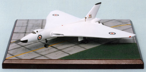 Avro Vulcan B1A 1/144 scale pewter limited edition aircraft model featured in anti flash white. Handmade by Staples and Vine Ltd.