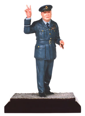 Winston Churchill limited edition pewter 120mm figure of Britain's great wartime leader. Handmade by Staples and Vine Ltd.