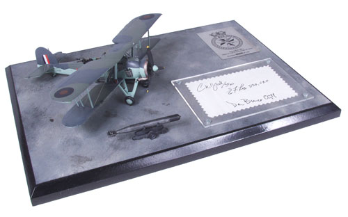 Fairey Swordfish Mk I 1/72 scale pewter signed limited edition aircraft model from the 'Channel Dash'. Handmade by Staples and Vine Ltd.